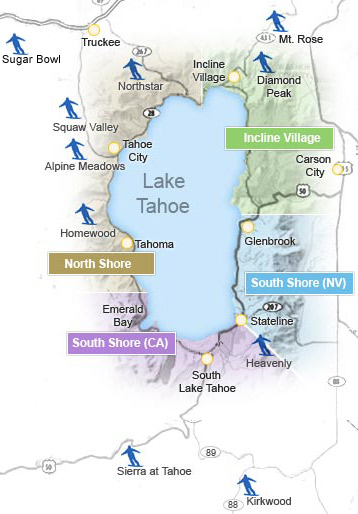 Skiing In Lake Tahoe Ski Lake Tahoe Lake Tahoe Ski Resorts - Western us ski resorts map