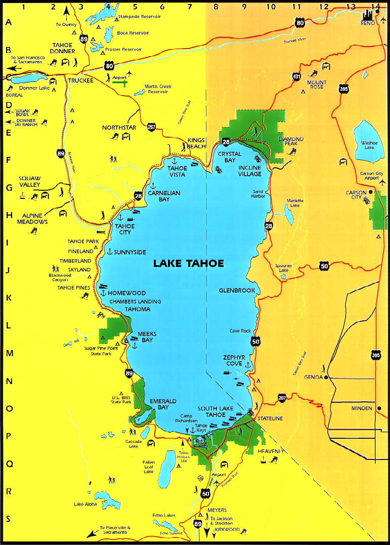 lake tahoe road map Lake Tahoe Area Maps Detailed Lake Tahoe Area Map By Region lake tahoe road map
