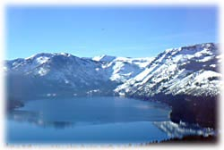 Photo of Emerald Bay in the winter.  It was taken from a plane looking toward Desolation Wilderness and the snow covered peaks.