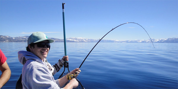 Sierra Fin Addicts Customer Fishing in Lake Tahoe