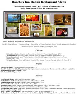 Bachhi's Inn Lake Tahoe Menu page 1