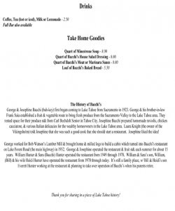 Bachhi's Inn Lake Tahoe Menu page 3