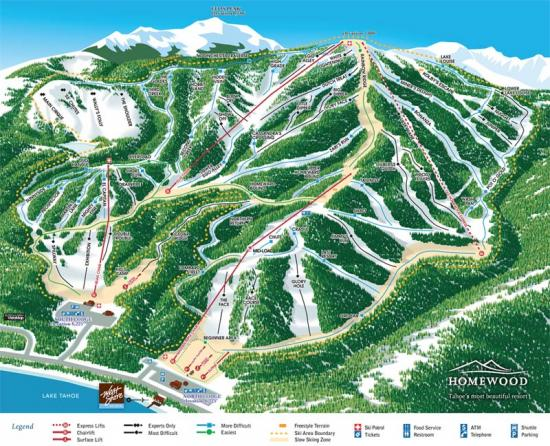 Homewood Mountain Ski Resort Trail Map