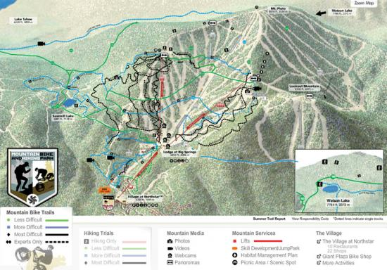 Northstar at Tahoe Mountain Bike Park Trail Map