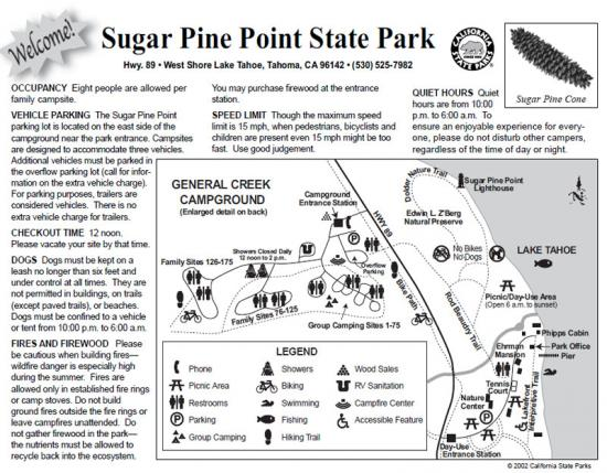 Sugar Pine Point State Park Trail Map
