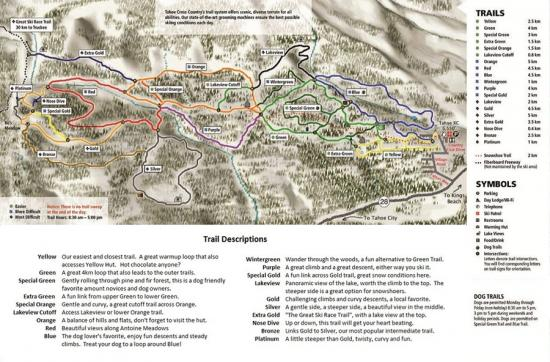 Tahoe XC Ski Area Trail Map