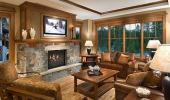 Tahoe Mountain Resorts Lodging Hotel Guest Living Room with Fireplace
