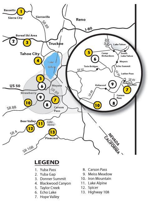 Sierra Mountain Sports of Lake Tahoe Trail Map